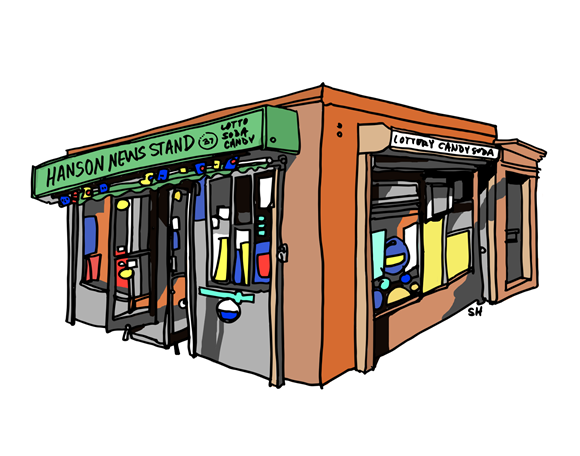 An illustration of a newsstand.