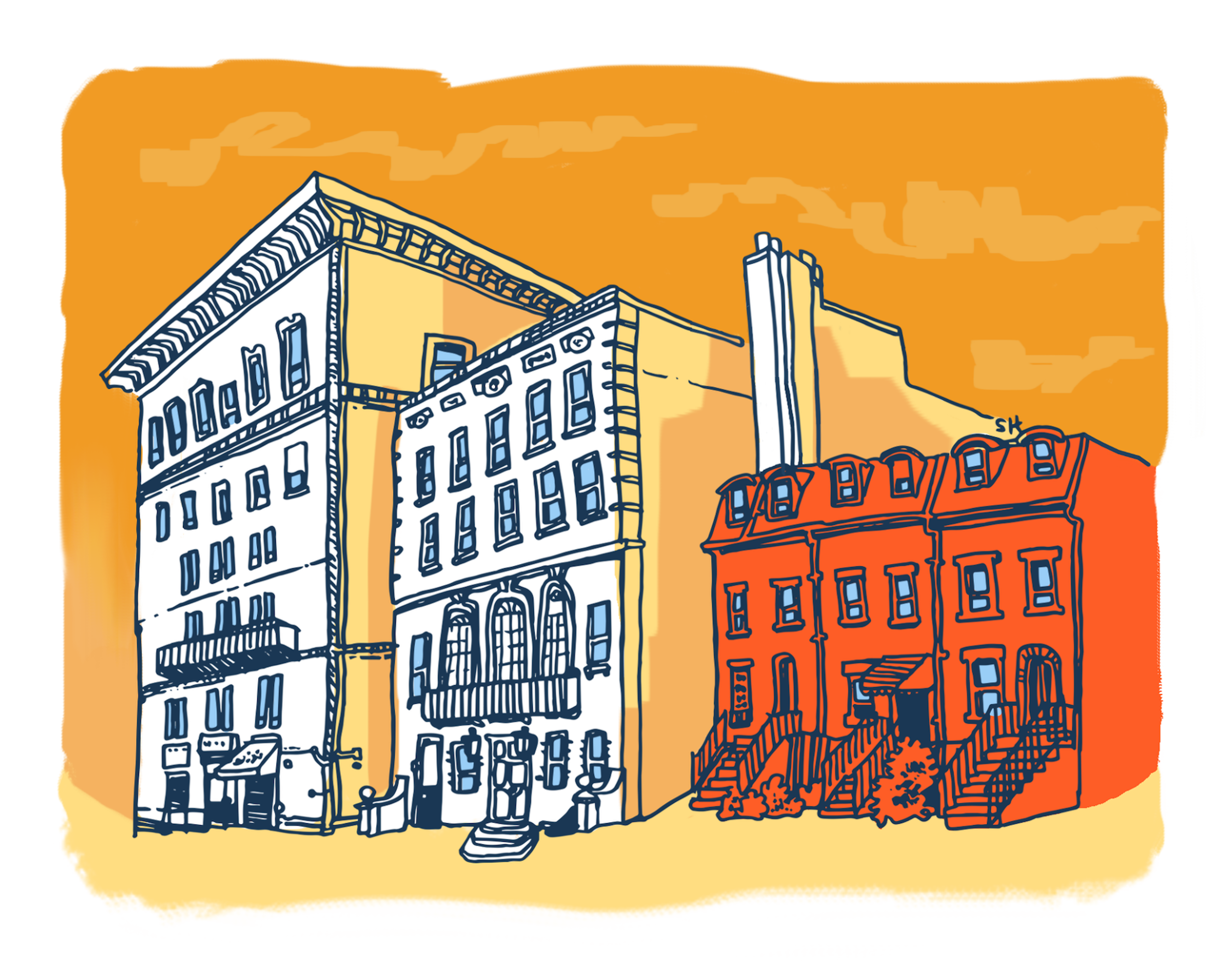 A colorful illustration of three buildings next to each other.