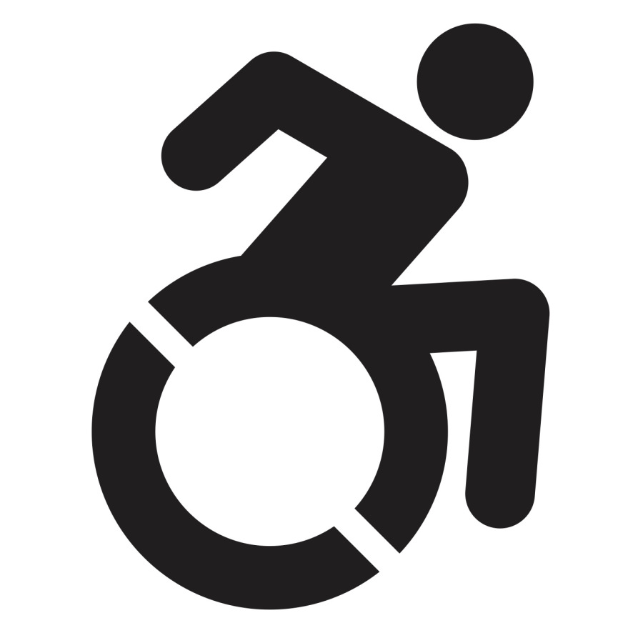 The universal accessibility icon of a person using a wheelchair.